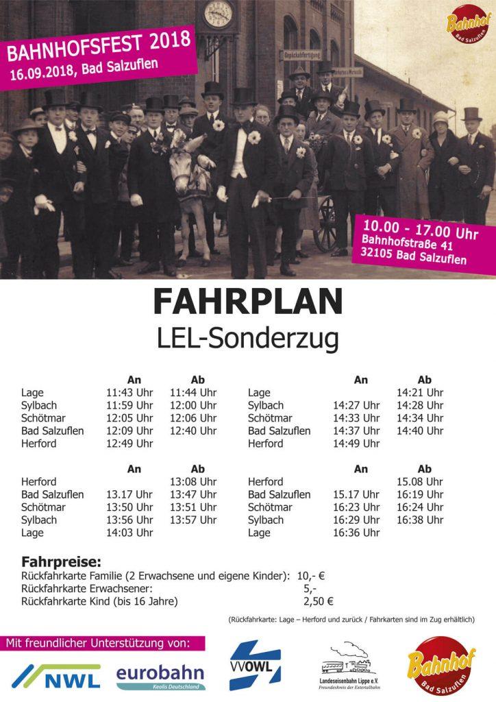 Fahrplan Sonderzug Bahnhofsfest
